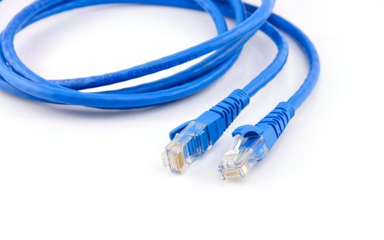 Twisted pair blue network cable isolated